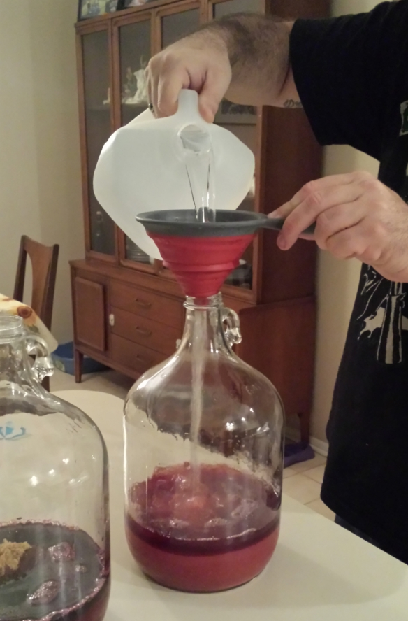 add water with the funnel